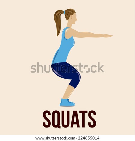 an isolated woman doing squats on a colored background