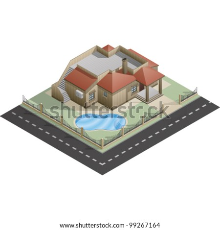 An isometric artwork of a house building saved as an EPS version 10.
