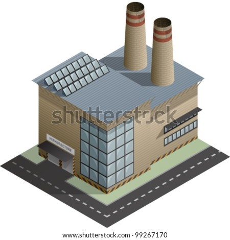 An isometric artwork of an industrial manufacture building saved as an EPS version 10. - stock vector