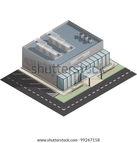 An isometric artwork of an industrial shop building saved as an EPS version 10. - stock vector