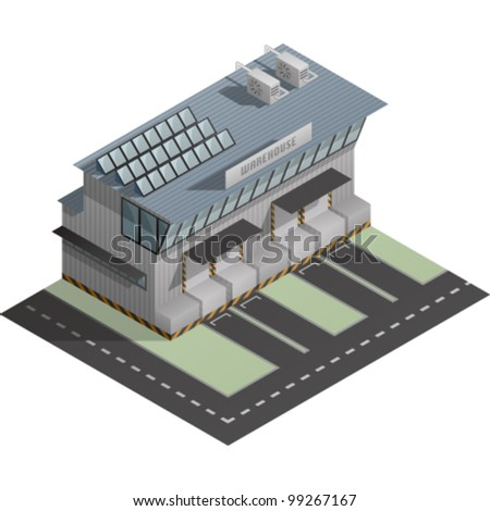 An isometric artwork of an industrial warehouse building saved as an EPS version 10.