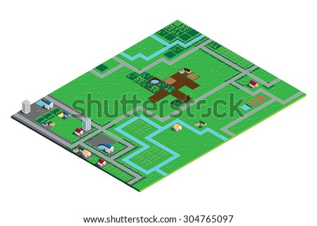 An Isometric Farming Scape Isolated on White Background