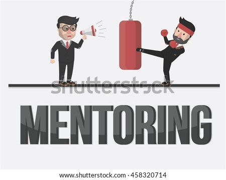 an mentoring to entrepreneur illustration design - stock vector
