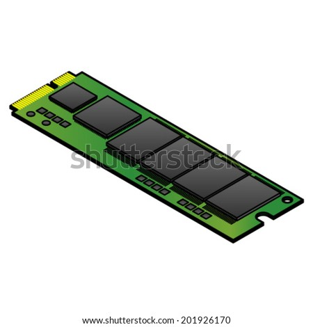 An mSATA solid state drive (SSD) for installing inside laptops and other devices. - stock vector