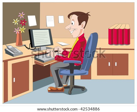 An Office Employee working on his Computer on his Desk. - stock vector