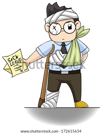An office guy is handing a 'sick leave' letter. - stock vector