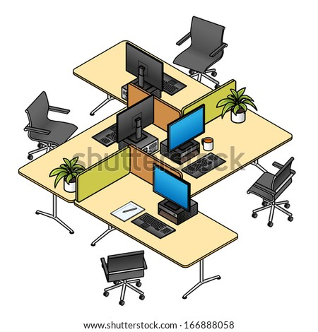 An office layout with 4 workstations/cubicles/workspaces with dividers, computers and chairs. Decorated with personal items. - stock vector