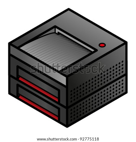 An office printer with two paper trays. - stock vector