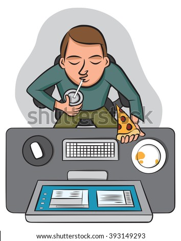An office worker eats lunch at his desk