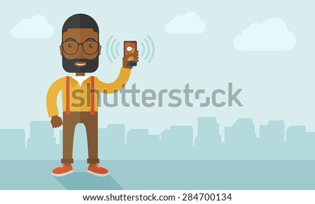 An office worker holding his smartphone vibrating. A contemporary style with pastel palette soft blue tinted background with desaturated clouds. Vector flat design illustration. Horizontal layout. - stock vector