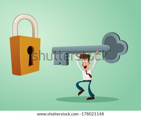 an office worker inserting a key into the keyhole of padlock - stock vector