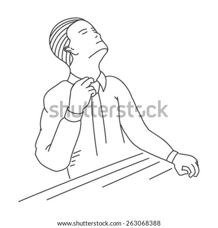 An office worker trying to loosen his tie.  EPS10 vector illustration - stock vector