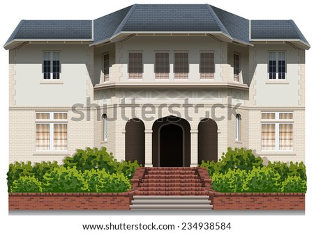 An old building on a white background  - stock vector