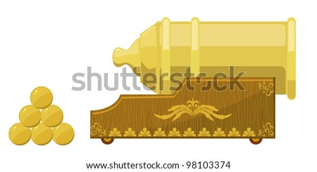 An old cannon and the nucleus. EPS10 - stock vector