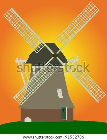 an old Dutch windmill on an orange background on an orange background - stock vector