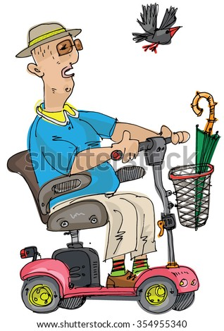 an old is driving mobility scooter  - stock vector