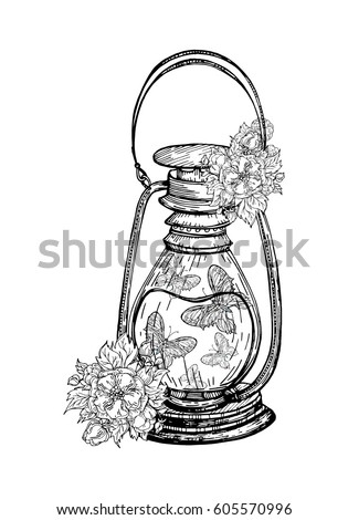 An Old Kerosene Lamp With Blossoms And A Butterfly Inside Vector Illustration For Print Or