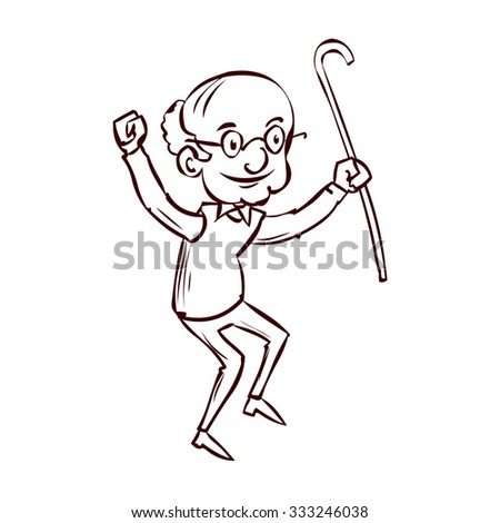 An old man with a cane dancing. Hand drawn cartoon vector illustration.