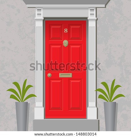 An Old Style Front Door, Red with Brass - stock vector