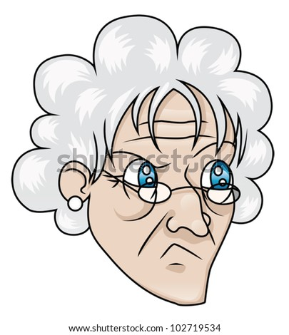 An old woman with a suspicious expression. EPS8 Vector. - stock vector