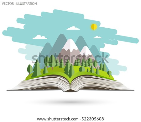 An open book. Nature is the open book. Landscape on open workbook. Vector illustration template design