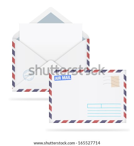 An open envelope with stamps and letter on white background. Vector illustration. Face and back. Realistic. Air mail. - stock vector