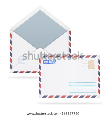 An open envelope with stamps on white background. Vector illustration. Face and back.  Realistic. Air mail. - stock vector