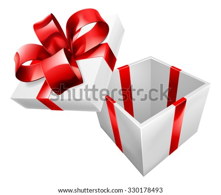 An open gift or present wrapped with a red bow ribbon