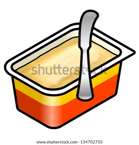 An opened tub of margarine/butter spread with a bread knife. - stock vector