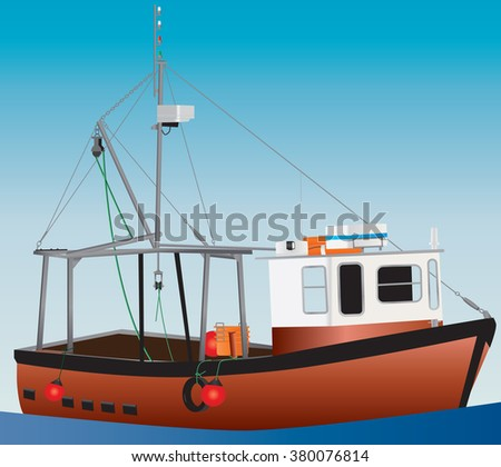 An Orange and White Inshore Fishing Boat with a blue sky background