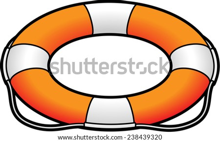 An orange and white lifesaver / life preserver. - stock vector