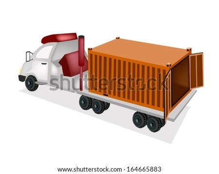An Orange Freight Container on The Back of A Flatbed Truck, Tractor Trailer or Flatbed Articulated Lorry for Trucking Products and Materials from Overseas Shipping.