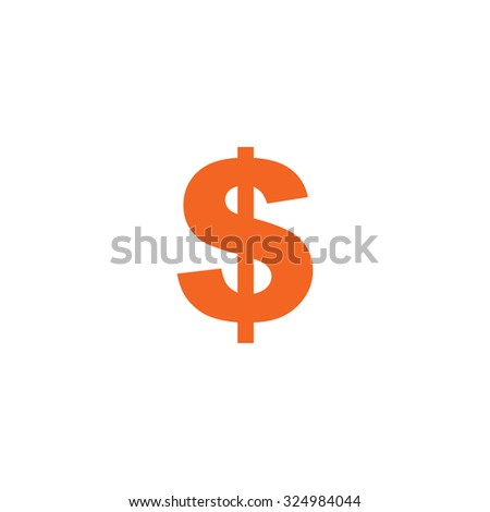 An Orange Icon Isolated on a White Background - Dollar Sign