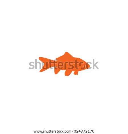 An Orange Icon Isolated on a White Background - Goldfish - stock vector