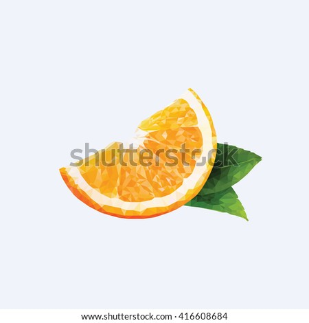 An orange in triangulation technique on blue background - stock vector