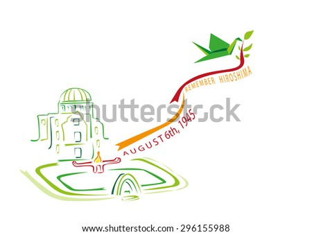 An origami crane makes a symbol of Hiroshima Peace Park. A concept for the commemoration of the Atomic Bomb which was dropped  on April 6th, 1945. Editable Clip Art. - stock vector