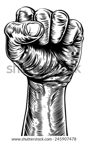 An original illustration of a a fist in a vintage style like on a propaganda poster or similar - stock vector