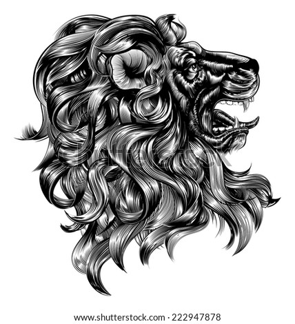 An original illustration of a lion in a vintage woodblock style - stock vector