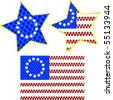 An original US flag with made of stars and two star icons with the flag design - stock vector
