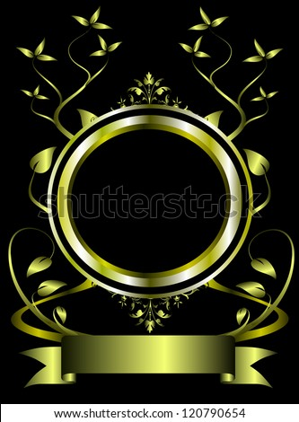 An ornate gold  floral frame design with room for text on a black background - stock vector