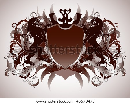 An ornate heraldic shield with lions - stock vector