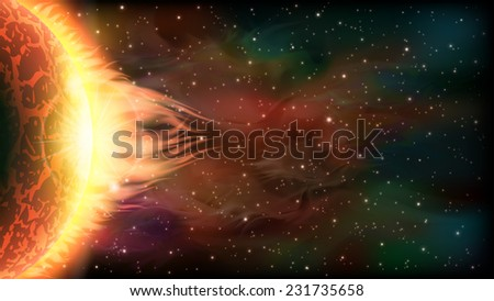 An outer space background with a burning planet and stars. Layered. - stock vector