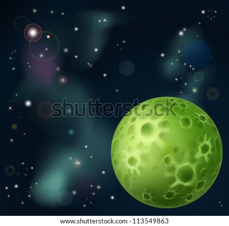 An outer space cartoon background with fantasy moon in the foreground