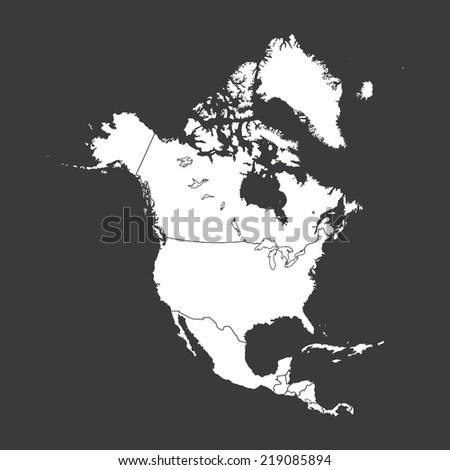 An Outline on clean background of the continent of North America - stock vector