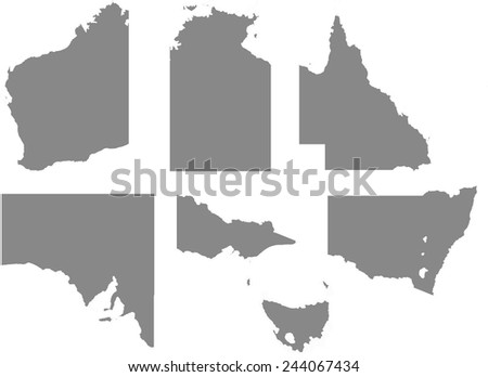 An Outline with regions of the Country of Australia - stock vector