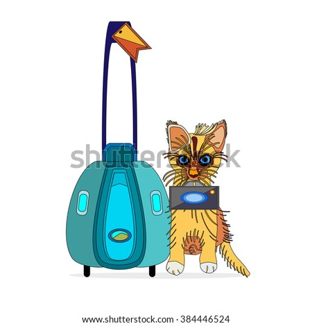 an outlined vector illustration of a ginger cat with photo camera and luggage  - stock vector