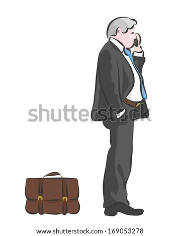 An Overweight Business Man Or Banker On His Cellphone