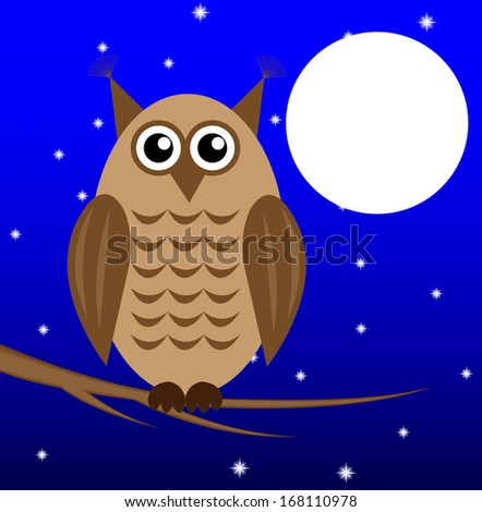 an owl on a star sky background sits on the branch of tree,vector illustration - stock vector