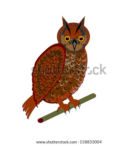 An owl on a white background. Vector-art illustration - stock vector