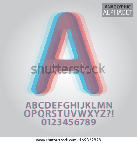 Anaglyphic Alphabet and Numbers Vector - stock vector